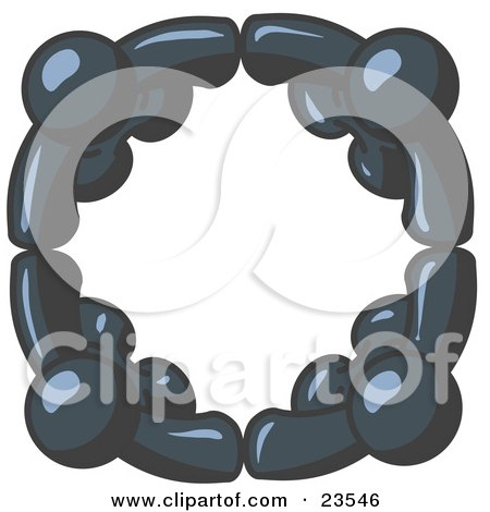 Clipart Illustration of Four Navy Blue People Standing in a Circle and Holding Hands For Teamwork and Unity by Leo Blanchette