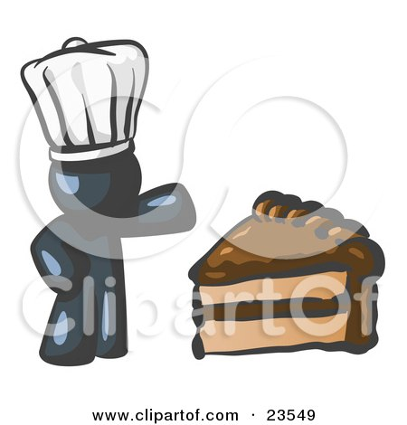 Clipart Illustration of a Navy Blue Chef Man Wearing A White Hat And Presenting A Tasty Slice Of Chocolate Frosted Cake by Leo Blanchette