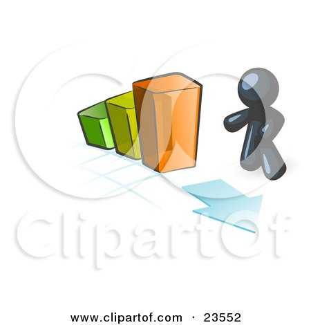 Clipart Illustration of a Navy Blue Man Standing By An Increasing Green, Yellow And Orange Bar Graph On A Grid Background With An Arrow by Leo Blanchette
