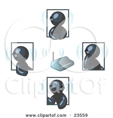 Clipart Illustration of a Group of Four Navy Blue Men Holding A Phone Meeting And Wearing Wireless Bluetooth Headsets by Leo Blanchette
