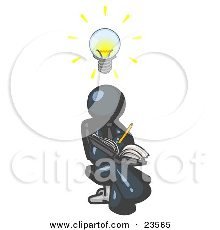 Clipart Illustration of a Smart Navy Blue Man Seated With His Legs Crossed, Brainstorming and Writing Ideas Down in a Notebook, Lightbulb Over His Head by Leo Blanchette