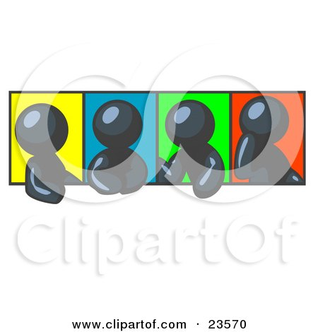 Clipart Illustration of Four Navy Blue Men In Different Poses Against Colorful Backgrounds, Perhaps During A Meeting by Leo Blanchette
