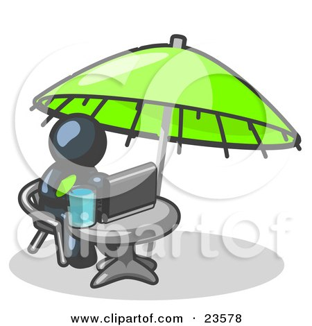 Clipart Illustration of a Traveling Navy Blue Business Man Sitting Under an Umbrella at a Table Using a Laptop Computer  by Leo Blanchette