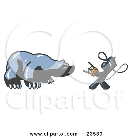 Clipart Illustration of a Navy Blue Man Holding a Stool and Whip While Taming a Bear, Bear Market by Leo Blanchette