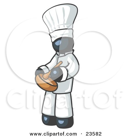 Clipart Illustration of a Navy Blue Baker Chef Cook in Uniform and Chef's Hat, Stirring Ingredients in a Bowl by Leo Blanchette