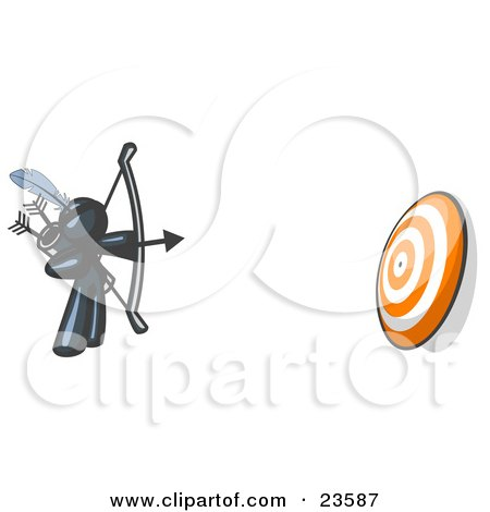 Clipart Illustration of a Navy Blue Man Aiming a Bow and Arrow at a Target During Archery Practice by Leo Blanchette