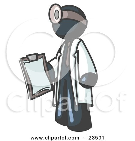 Navy Blue Male Doctor Holding a Clipboard And Wearing a Head Lamp Posters, Art Prints