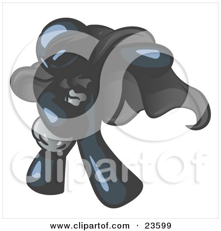Clipart Illustration of a Navy Blue Man In A Mask And Cape, Stealing Belongings In A Bag by Leo Blanchette