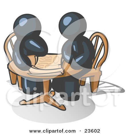 Clipart Illustration of Two Navy Blue Businessmen Sitting at a Table, Discussing Papers by Leo Blanchette