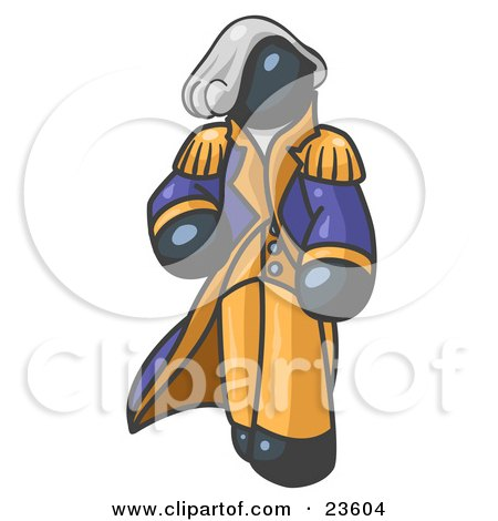 Clipart Illustration of a Navy Blue George Washington Character by Leo Blanchette