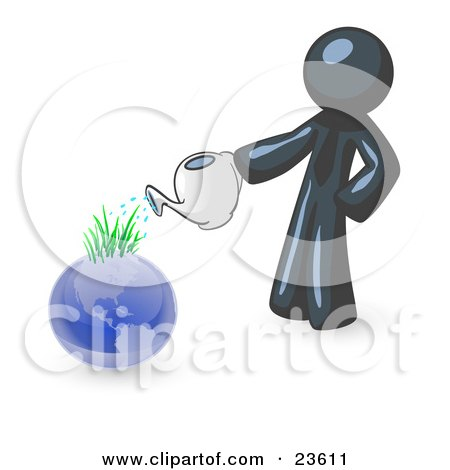 Clipart Illustration of a Navy Blue Man Using A Watering Can To Water New Grass Growing On Planet Earth, Symbolizing Someone Caring For The Environment by Leo Blanchette