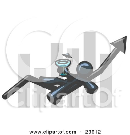 Clipart Illustration of a Navy Blue Business Owner Man Relaxing on an Increase Bar and Drinking, Finally Taking a Break by Leo Blanchette