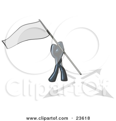 Clipart Illustration of a Navy Blue Man Claiming Territory or Capturing the Flag by Leo Blanchette