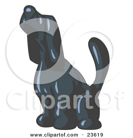 Clipart Illustration of a Navy Blue Tick Hound Dog Howling or Sniffing the Air by Leo Blanchette