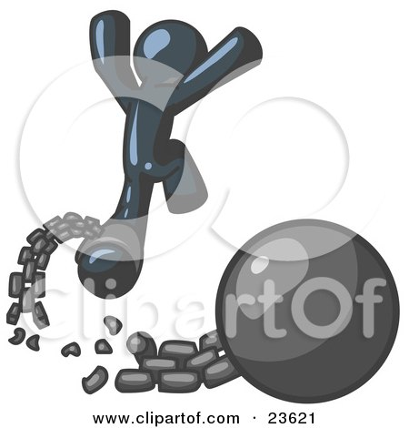 Clipart Illustration of a Navy Blue Man Jumping For Joy While Breaking Away From a Ball and Chain, Symbolizing Freedom From Debt Or Divorce by Leo Blanchette