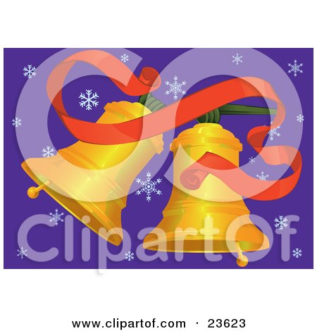 Clipart Illustration of Two Golden Jingle Bells Ringing Under A Red Ribbon Over A Purple Background With Snowflake by Paulo Resende