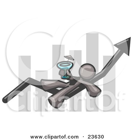 Clipart Illustration of a Gray Business Owner Man Relaxing on an Increase Bar and Drinking, Finally Taking a Break by Leo Blanchette