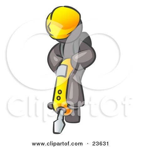Clipart Illustration of a Gray Construction Worker Man Wearing A Hardhat And Operating A Yellow Jackhammer While Doing Road Work by Leo Blanchette