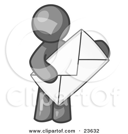 Clipart Illustration of a Gray Person Standing And Holding A Large Envelope, Symbolizing Communications And Email by Leo Blanchette
