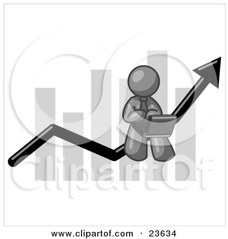 Clipart Illustration of a Gray Man Using a Laptop Computer, Riding the Increasing Arrow Line on a Business Chart Graph by Leo Blanchette