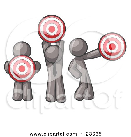 Clipart Illustration of a Group Of Three Gray Men Holding Red Targets In Different Positions by Leo Blanchette