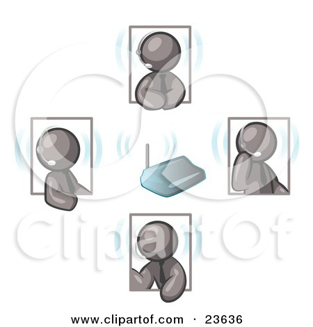 Clipart Illustration of Gray Men Holding A Phone Meeting And Wearing Wireless Headsets by Leo Blanchette