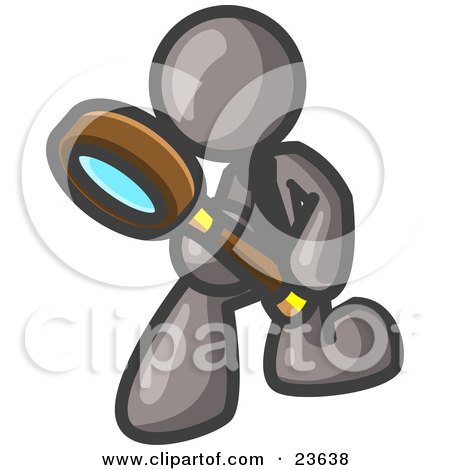 Clipart Illustration of a Gray Man Bending Over to Inspect Something Through a Magnifying Glass by Leo Blanchette