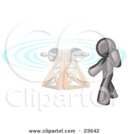 Clipart Illustration of a Gray Businessman Talking on a Cell Phone, a Communications Tower in the Background by Leo Blanchette