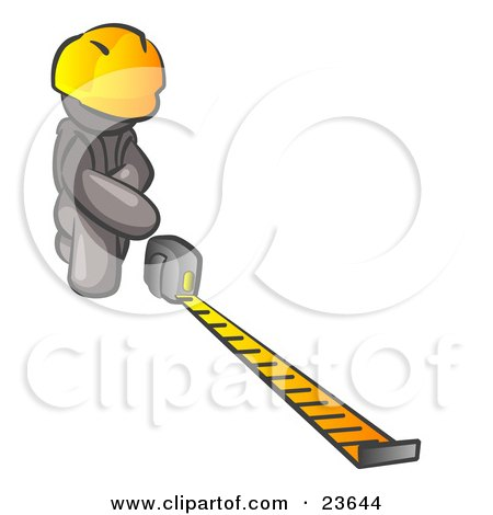 Clipart Illustration of a Gray Man Contractor Wearing A Hardhat, Kneeling And Measuring by Leo Blanchette