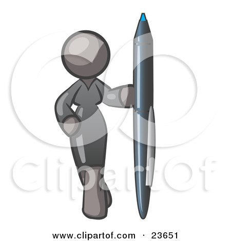 Clipart Illustration of a Gray Woman In A Gray Dress, Standing With One Hand On Her Hip, Holding A Huge Pen by Leo Blanchette
