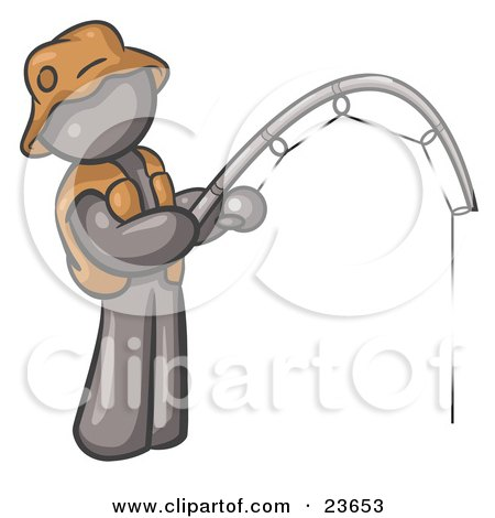Clipart Illustration of a Gray Man Wearing A Hat And Vest And Holding A Fishing Pole by Leo Blanchette