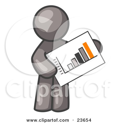 Clipart Illustration of a Gray Man Holding A Bar Graph Displaying An Increase In Profit by Leo Blanchette
