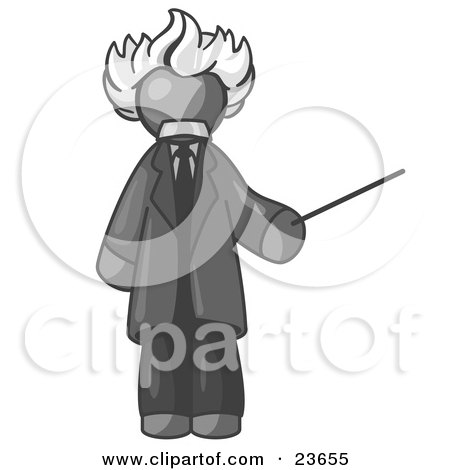 Clipart Illustration of a Gray Man Depicted as Albert Einstein Holding a Pointer Stick by Leo Blanchette