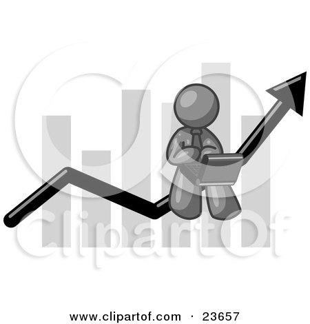 Clipart Illustration of a Gray Man Conducting Business On A Laptop Computer On An Arrow Moving Upwards In Front Of A Bar Graph, Symbolizing Success by Leo Blanchette