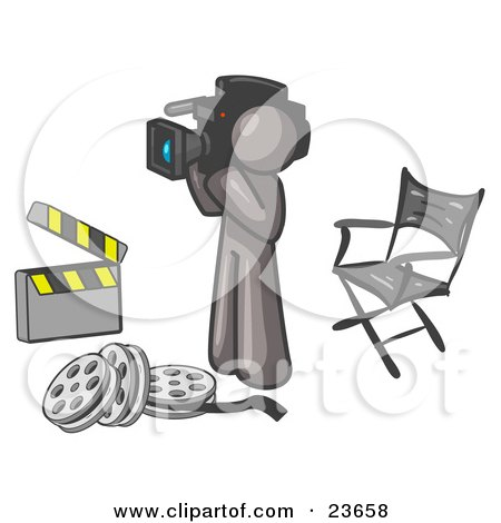 Clipart Illustration of a Gray Man Filming a Movie Scene With a Video Camera in a Studio by Leo Blanchette