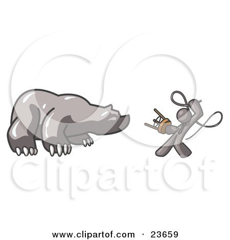 Clipart Illustration of a Gray Man Holding a Stool and Whip While Taming a Bear, Bear Market by Leo Blanchette