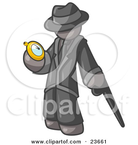 Clipart Illustration of a Gray Businessman Checking His Pocket Watch by Leo Blanchette