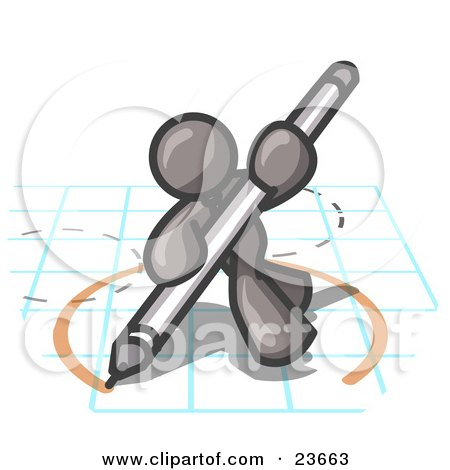 Clipart Illustration of a Gray Man Holding a Pencil and Drawing a Circle on a Blueprint by Leo Blanchette