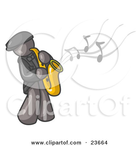 Clipart Illustration of a Musical Gray Man Playing Jazz With a Saxophone by Leo Blanchette