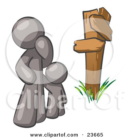 Clipart Illustration of an Uncertain Gray Man And Child Standing At A Wooden Post, Trying To Decide Which Direction To Go At A Crossroads by Leo Blanchette