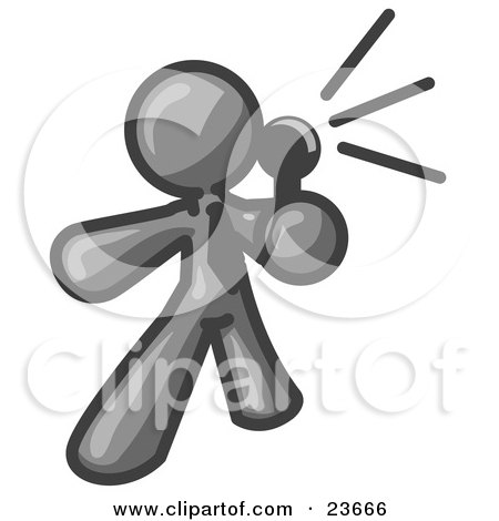 Clipart Illustration of a Gray Man Holding a Megaphone and Making an Announcement by Leo Blanchette