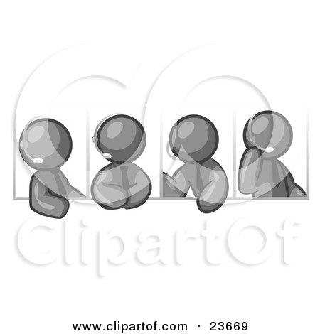 Clipart Illustration of Four Different Gray Men Wearing Headsets And Having A Discussion During A Phone Meeting by Leo Blanchette