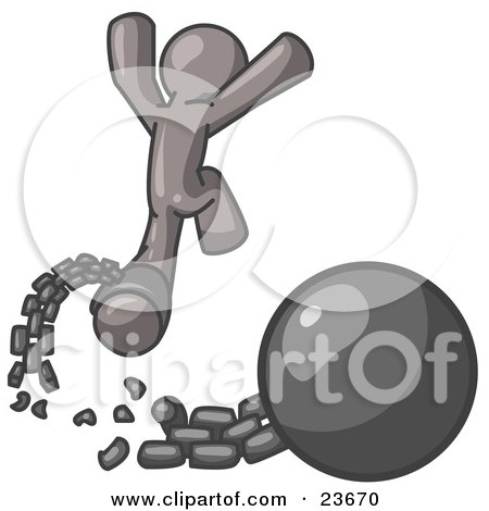 Clipart Illustration of a Gray Man Jumping For Joy While Breaking Away From a Ball and Chain, Symbolizing Freedom From Debt Or Divorce by Leo Blanchette