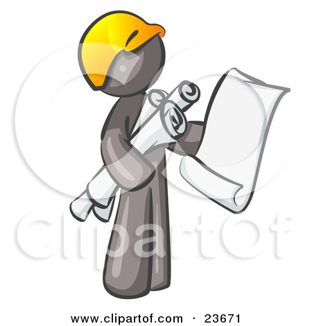 Clipart Illustration of a Gray Man Contractor Or Architect Holding Rolled Blueprints And Designs And Wearing A Hardhat by Leo Blanchette
