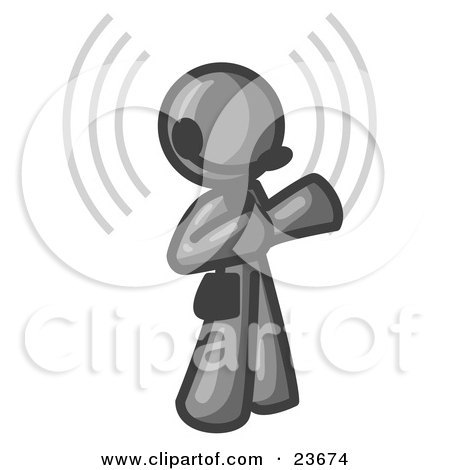 Clipart Illustration of a Gray Customer Service Representative Taking a Call With a Headset in a Call Center by Leo Blanchette