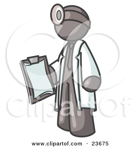 Clipart Illustration of a Gray Male Doctor Holding a Clipboard And Wearing a Head Lamp by Leo Blanchette