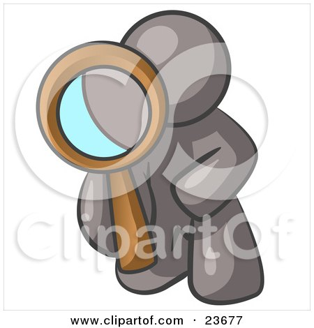 Clipart Illustration of a Gray Man Kneeling On One Knee To Look Closer At Something While Inspecting Or Investigating by Leo Blanchette