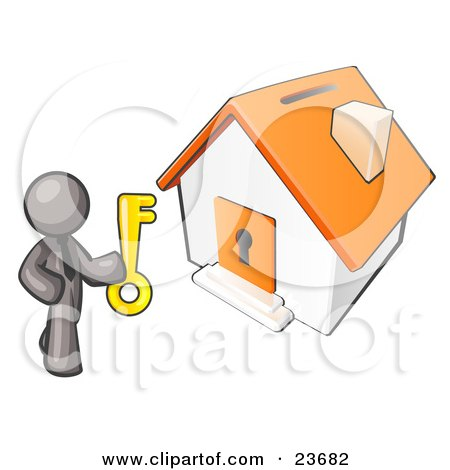 Clipart Illustration of a Gray Businessman Holding A Skeleton Key And Standing In Front Of A House With A Coin Slot And Keyhole by Leo Blanchette