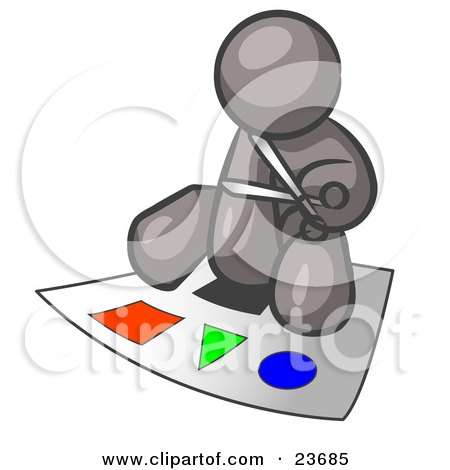 Clipart Illustration of a Gray Man Holding A Pair Of Scissors And Sitting On A Large Poster Board With Colorful Shapes by Leo Blanchette