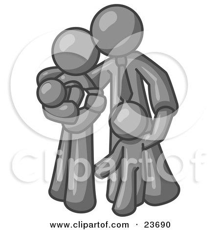 Clipart Illustration of a Gray Family Man, a Father, Hugging His Wife and Two Children by Leo Blanchette